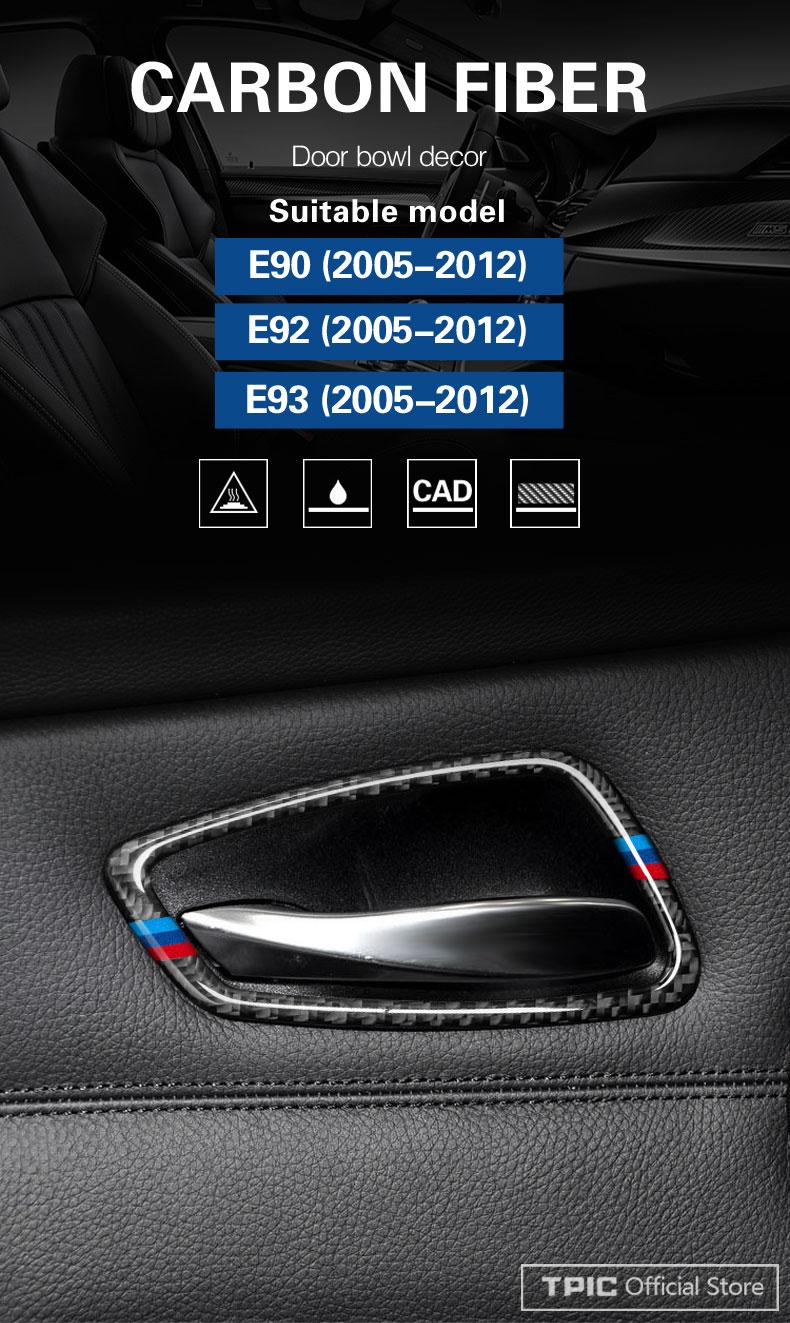 4PCS Carbon Fiber Car Door Handle Pastes Frames Sticker For BMW E90 E92 ts