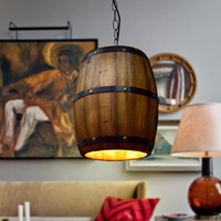 Countryside Vintage Wooden Barrel Restaurant Pendant Lights Bar Club Decoration Hanglamp Coffee Shop Lamp Loft Chain Luminaire