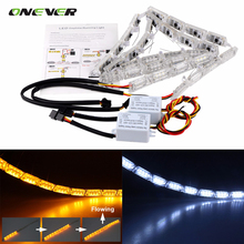 2Pcs Car Flexible Switchback LED Knight Rider Strip Light for Headlight Sequential Flasher DRL Flowing Amber Turn Signal Lights