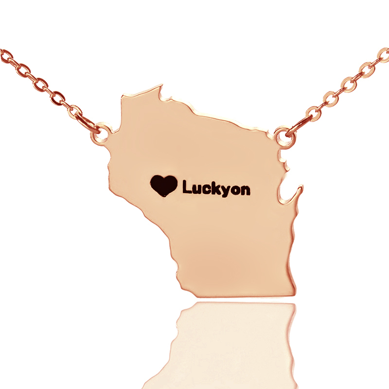 Personalized America State Shaped Necklaces Rose Gold Color Wisconsin State Necklaces Map Necklaces Charm State Necklaces