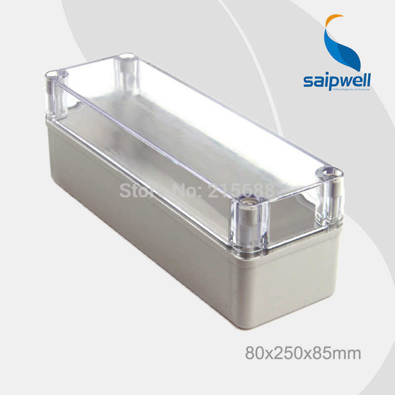 New Hot Sale Saipwell 80 250 85mm ABS Waterproof Box for electronic junction boxes Clear cover