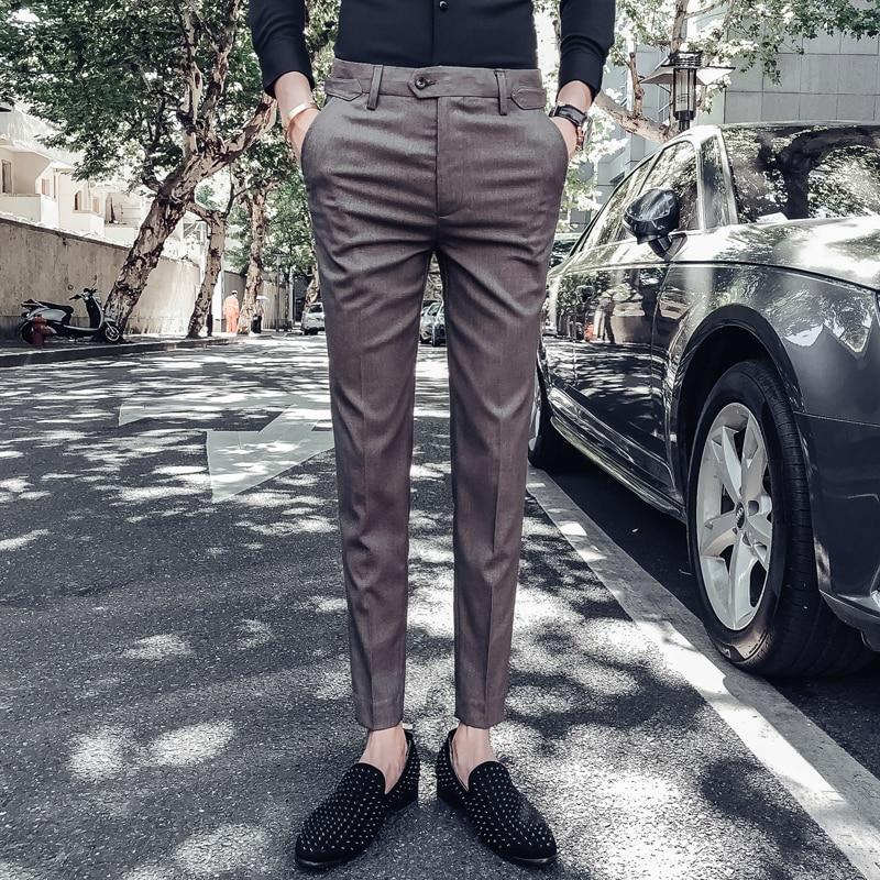 Осень 2018 г. новый бизнес Бесплатная теплые брюки для мужчин молодежи Британский ветер Универсальный работы профессионально платье девять б...