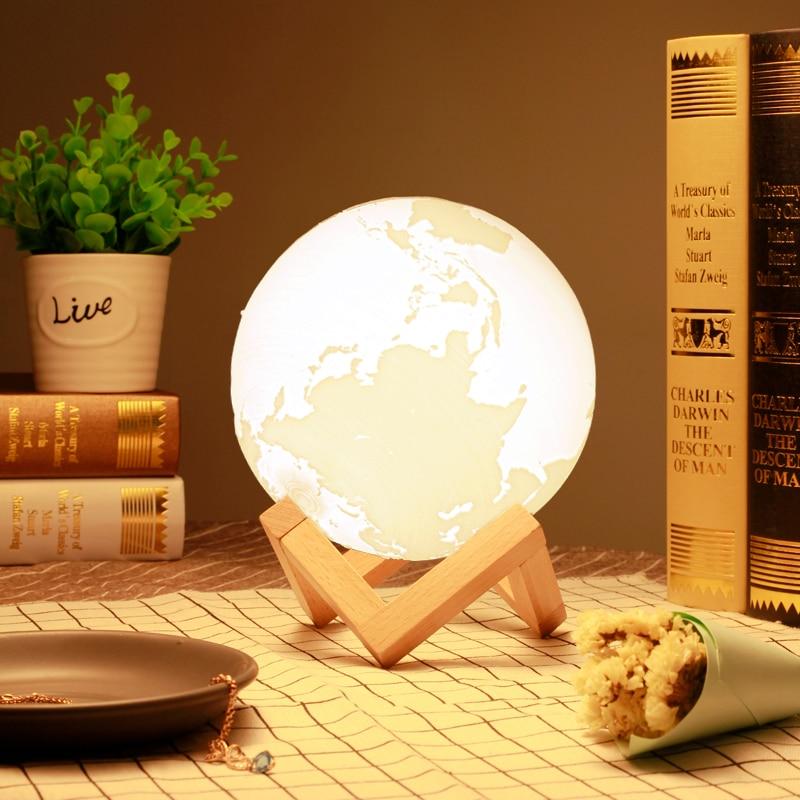 Перезаряжаемые 3D принт земля лампы Night Lights сенсорный Сенсор коснитесь земля свет 16 видов цветов для Спальня Home Decor