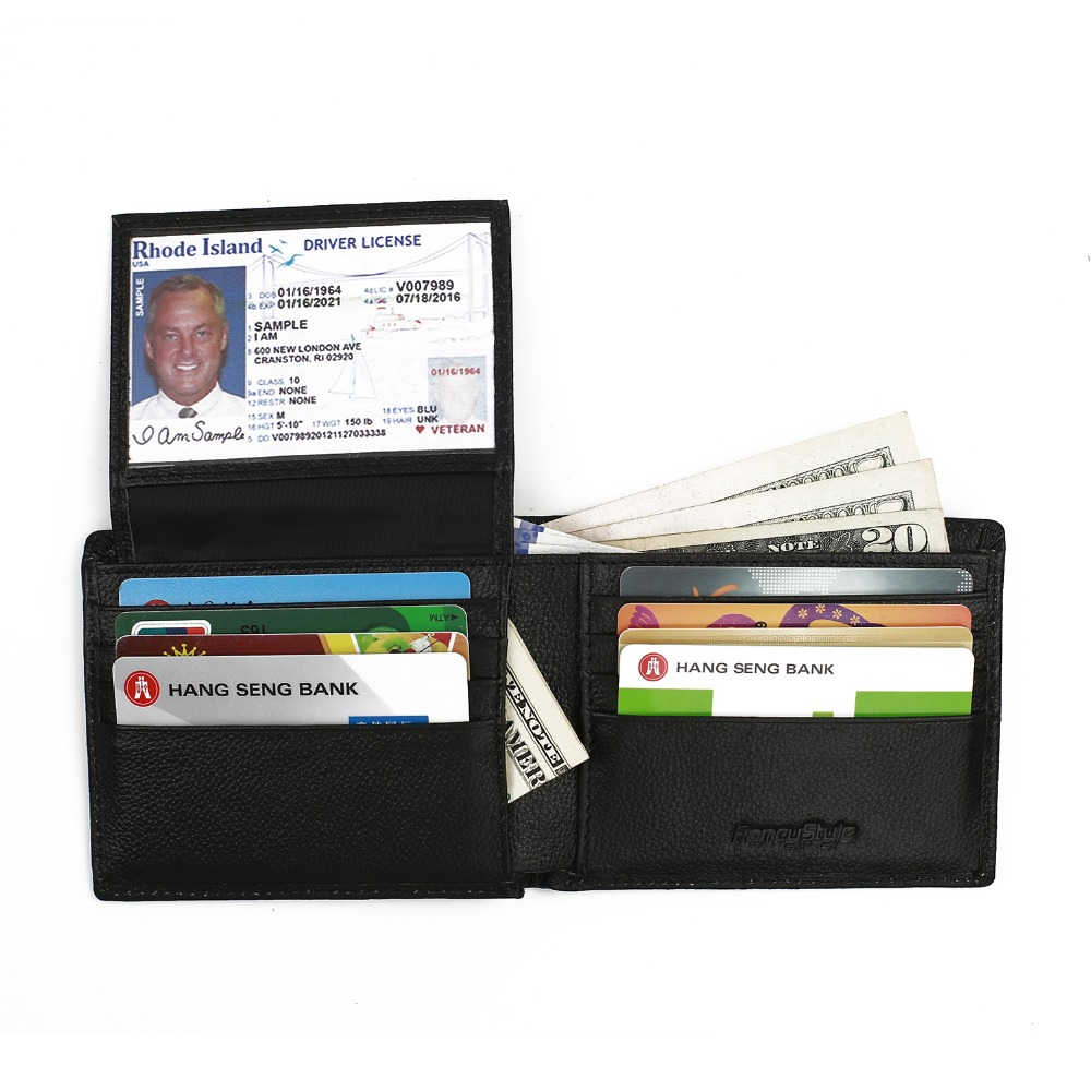 ФОТО FancyStyle RFID Bifold Wallet Flip Out Removable ID Card Case Leather Checkbook Wallet Black