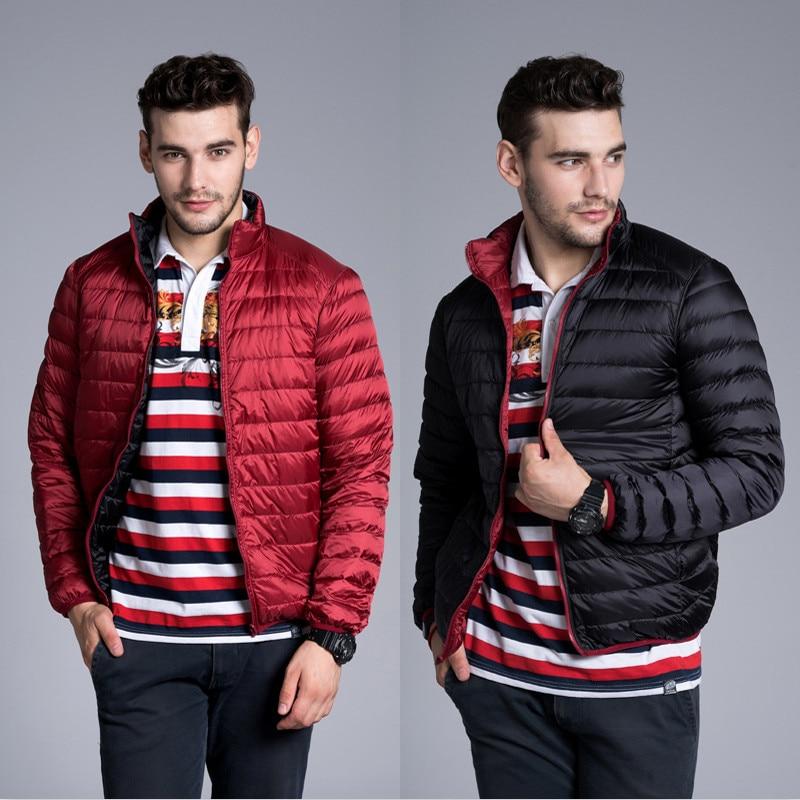 2018 Autumn Winter Men Down Jacket White Duck Ultra Light Down Coats Parkas Male Short Outwear Double Coat Plus Size 3XL AB895