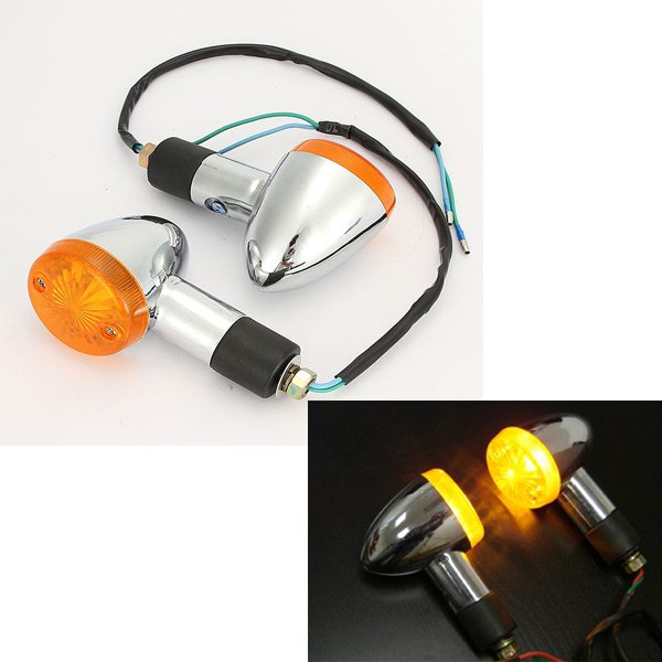 2pcs Motorcycle Bike Amber Indicator Bullet Turning Signal Lights For Suzuki Boulevard C109R C50 C90