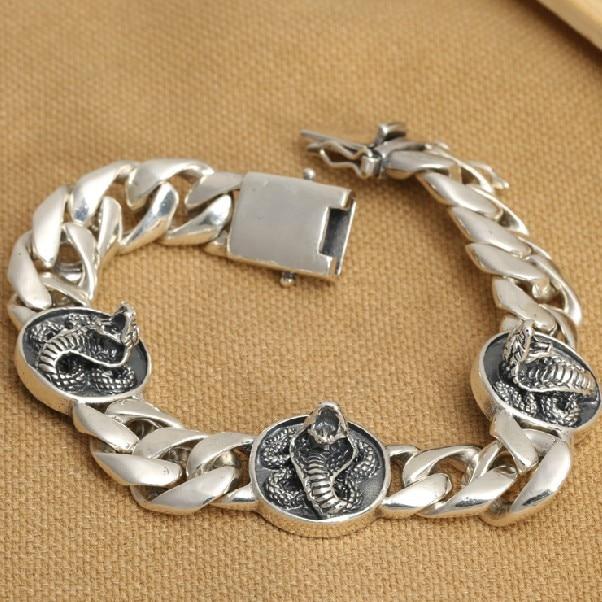 Handmade Thai 925 Siilver Snake Chain Bracelet 215mm Sterling Silver Man Bracelet Jewelry Gift Man Jewelry 9mm handmade thailand 925 siilver bracelet vintage sterling silver chain bracelet pure silver man bracelet