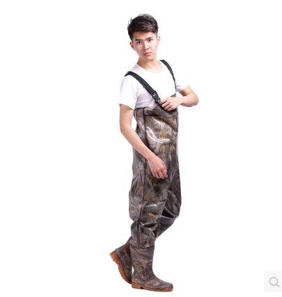 Ave zancuda Respirable impermeable Pesca Waders Pecho Engrosamiento Camuflaje botas de Vadeo de pesca militares hombre zapatos de los hombres del ejército
