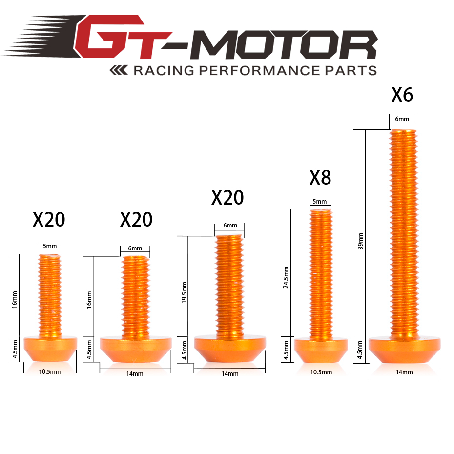 GT Motor - Universal  Pattern Motorcycle Sportbike whole parts body Windscreen Fairing Bolts Kit Screws for Z800 Z1000 Z900 windscreen windshield bolts screws kit for honda transalp 400 600v xrv650 st1100 xl1000v cbr600rr 900 1000 cbr929 cbr600f 1000f