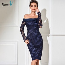 Dressv navy sheath knee length cocktail dress real sexy off the shoulder  long sleeves zipper up lace short cocktail party dress 725a08ea4055