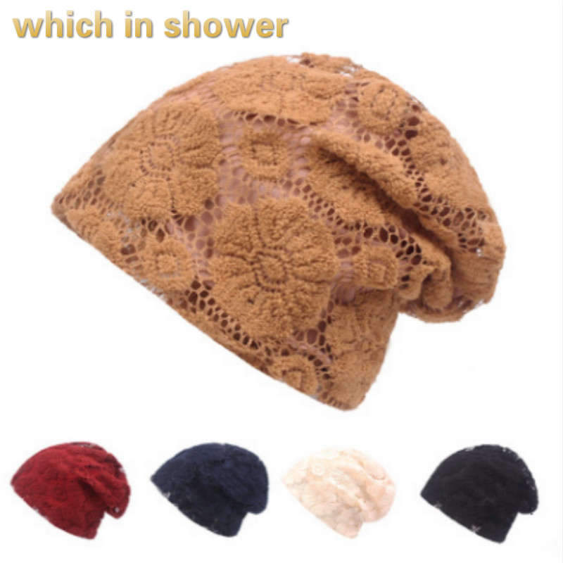 Fashion Lace Turban Hat Cap Breathable Floral Stocking Cap Spring Autumn Female   Skullies     Beanie   Indian Style Chemo Cap Bonnet