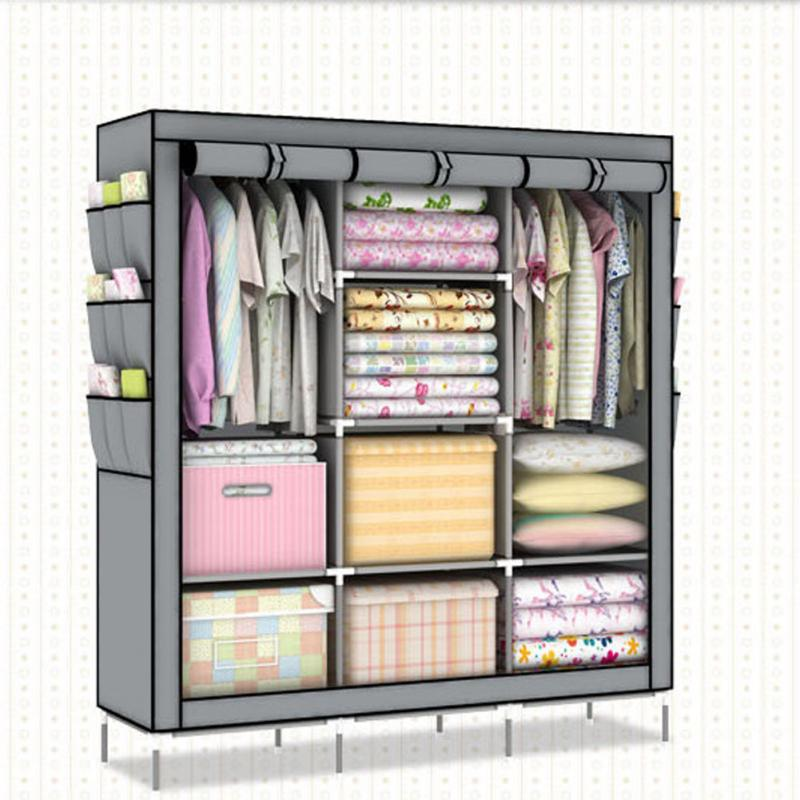 Simple Clothes Closet Portable Wardrobe Storage Organizer With Shelves  Multilayer Sturady Durable Construction Storage Cabinet In Storage Holders  U0026 Racks ...