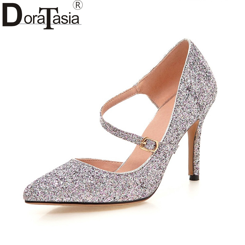 DoraTasia Large Size 33-43 Bling Upper Pointed Toe Thin High Heels Women Shoes Sexy Pink Gold Silver Black Date Wedding Pumps