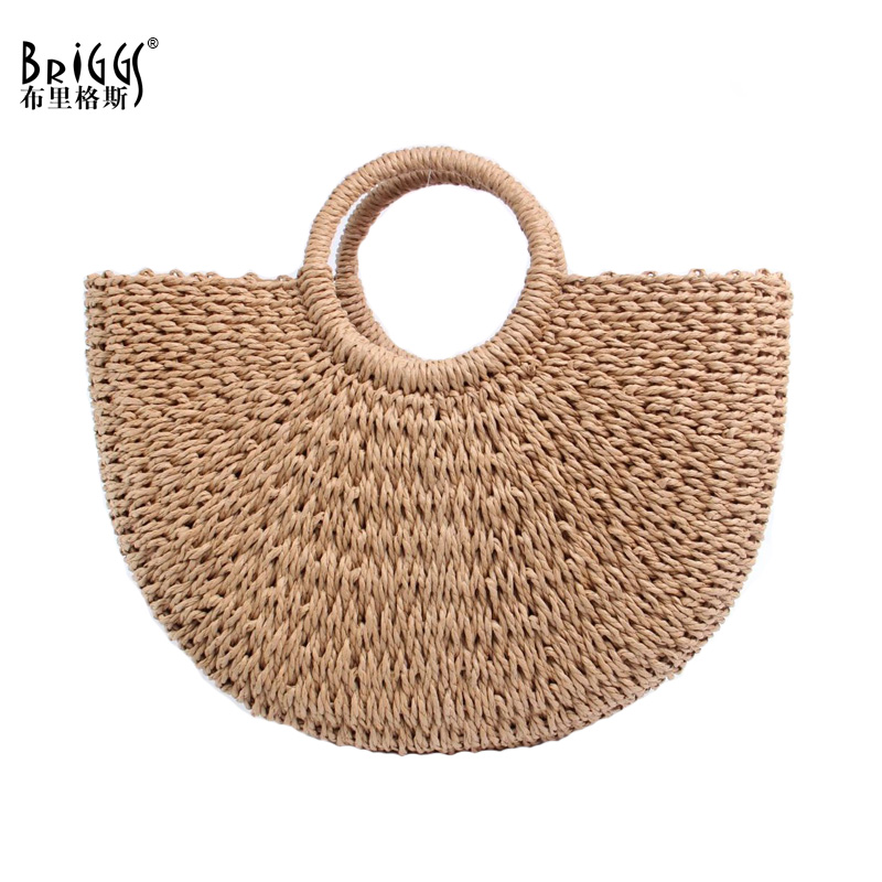 BRIGGS New 2018 Summer Beach Bag Hand Woven Straw Bags Fashion Women Casual Tote Large Capacity Shopping Bags Women Handbags 2016 fashion design straw knitting women shoulder bags beach bags women scarf tote handbags for ladies summer tote bags t400