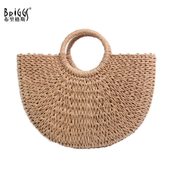 BRIGGS New 2018 Summer Beach Bag Hand Woven Straw Bags Fashion Women Casual Tote Large Capacity Shopping Bags Women Handbags
