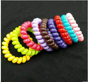 Candy Color Telephone Wire Line Elasticity Rubber Band Elastic Hairbands Hair Rope For G ...