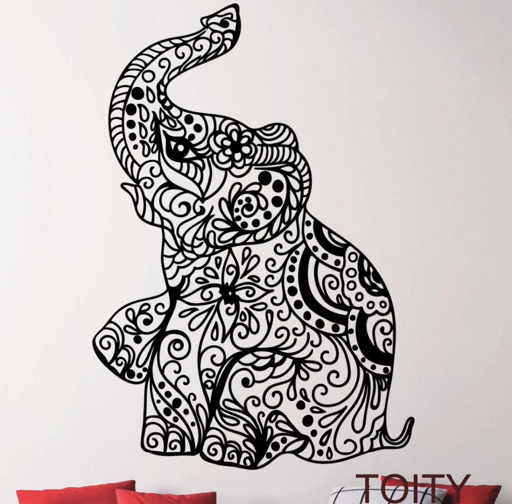 Elephant Indian Pattern Yoga Cute Vinyl Wall Decal Sticker