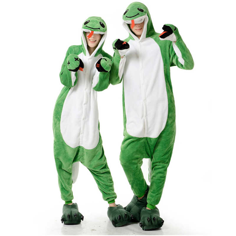 Mignon adulte Anime vert serpent Onesies Costume pour femmes hommes drôle chaud doux Animal mignon Onepieces pyjamas vêtements de maison fille vêtements