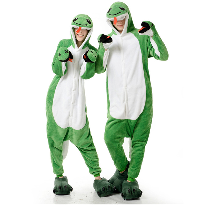 Adult Anime Green Snake Kigurumi Onesies Costume For Women Men Funny Warm Soft Animal Cute Onepieces Pajamas Home Wear Girl