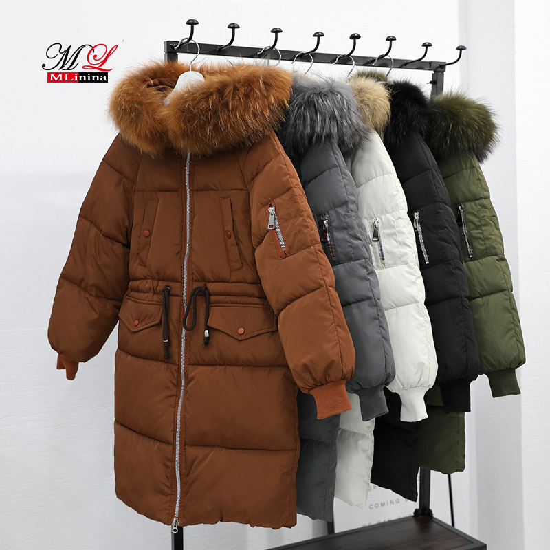 Mlinina Winter Jacket Women Warm Thick Long   Parka   Big Fur Collar Female Coat 2018 New Plus Size Women's Winter Jackets Snow Wear