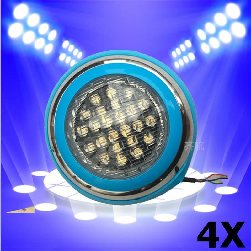 4pcs LED Swimming pool light 54W AC 12V RGB IP68 LED remote control underwater Lamp Outdoor Lighting Pond lights led piscina