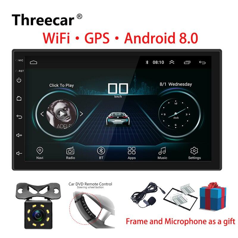 2 Rádio Do Carro um Din Android 8.0 Universal Tela Sensível Ao Toque de Navegação GPS Bluetooth Wifi FM Carro De Áudio Estéreo USB Multimídia Carro MP5