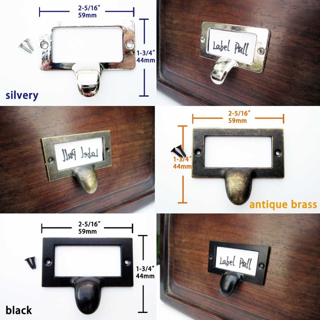 6x Antique Brass Black Silvery Heavy Duty Metal Label Tag Pull Frame Handle File Name Card Holder For Furniture Cabinet Drawer