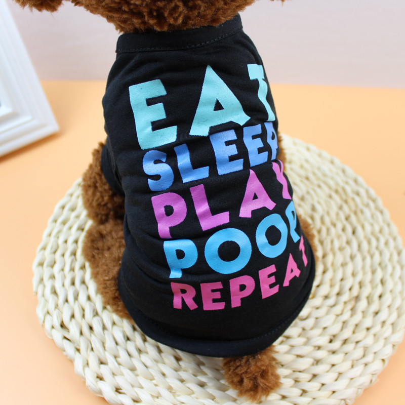 Cute Letters Dog Clothes Vest Pet T-shirt Soft Dogs Clothing For Small Puppy Teddy Jersey Puppy Apparel Pug Costumes For Bulldog