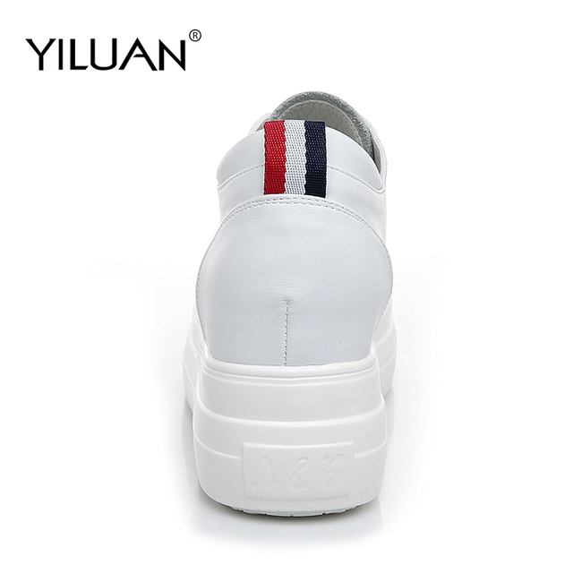 Yiluan Women high heels Breathable Sneakers increased Platform Shoes Casual Footwear Leather White Shoes Women's Vulcanize Shoes 1