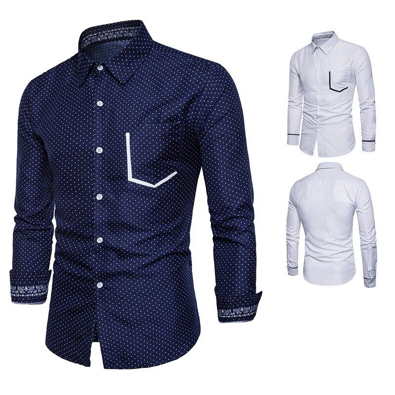 2018 Для Мужчин's Повседневное рубашки с длинным рукавом Мода cultivate One's morality с лацканами в горошек Для мужчин рубашка H17