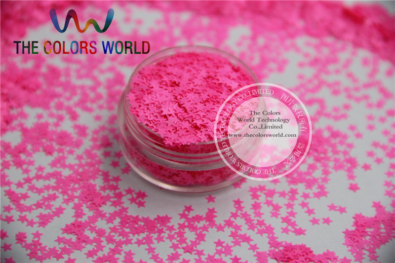 Solvent resistant Sparkles- Neon Shocking Pink Color Stars-shaped Glitter Confetti for Nail Polish and DIY decoration 1Pack =50g dn2 39 mix 2 3mm solvent resistant neon diamond shape glitter for nail polish acrylic polish and diy supplies1pack 50g