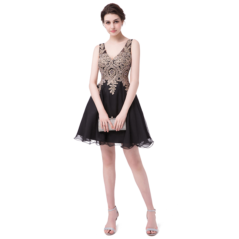 Cheap Short   Cocktail     Dresses   Chiffon Gold Appliques with Crystal Beaded Little Black Homecoming Party Gown for Graduation LX418