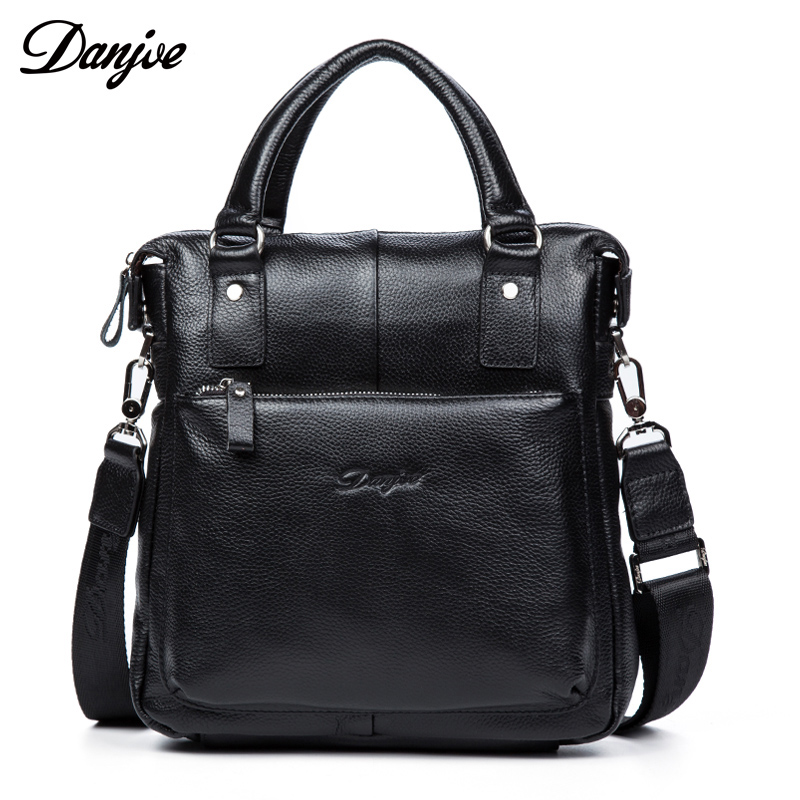 DANJUE Genuine Leather Men's Messenger Brand Fashion Handbag Shoulder Bag Gentleman Business Bag Real Leather Men Crossbody Bag danjue genuine leather men travel shoulder bag double zipper designer crossbody bag business fashion real leather briefcase bag