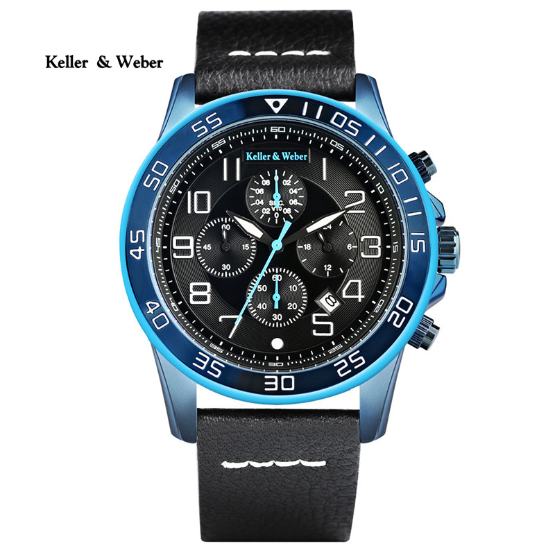 Keller & Weber Luxury Sport Mens Quartz Watches Blue/Red Chronograph Date with Genuine Leather Watchband High Quality Watch Gift keller