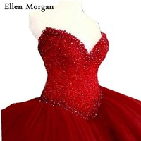 Elegant Red Quinceanera Dresses For Girls 2017 Cheap Sexy Sweetheart Tulle Stone Beautiful Debutante Sweet 15
