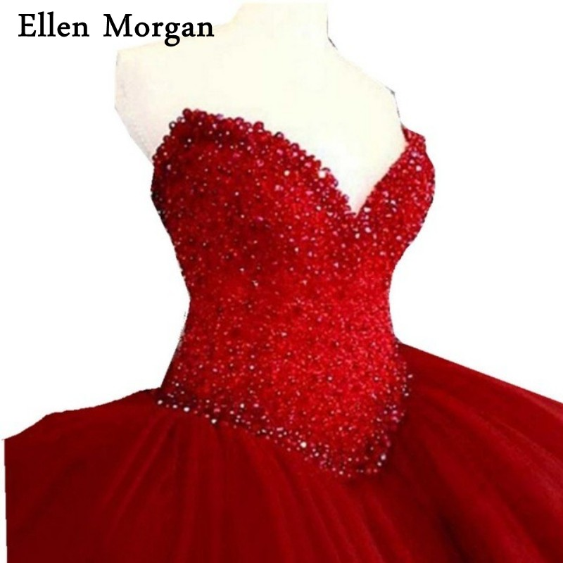 Elegant Red Quinceanera Dresses for <font><b>Girls</b></font> 2019 Cheap <font><b>Sexy</b></font> Sweetheart Tulle Stone Beautiful Debutante Sweet <font><b>15</b></font> <font><b>Years</b></font> Prom Gowns image