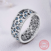 100% 925 Sterling Silver Ring Exquisite Vintage Hollow Clover with Blue Cubic Zirconia Rings for Women Wedding DIY Gift jewelry