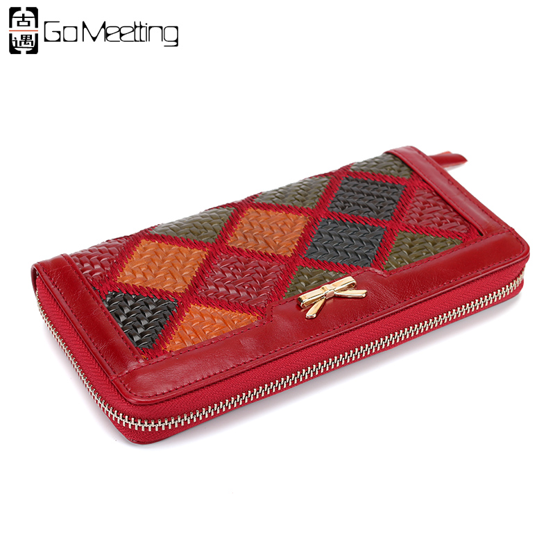 Go Meetting Embossed Genuine Leather Women Wallets Patchwork High Quality Card Holder Long Wallet Leather Purse Clutch Bag WQ7 women genuine leather character embossed day clutches wristlet long wallets chains hand bag female shoulder clutch crossbody bag