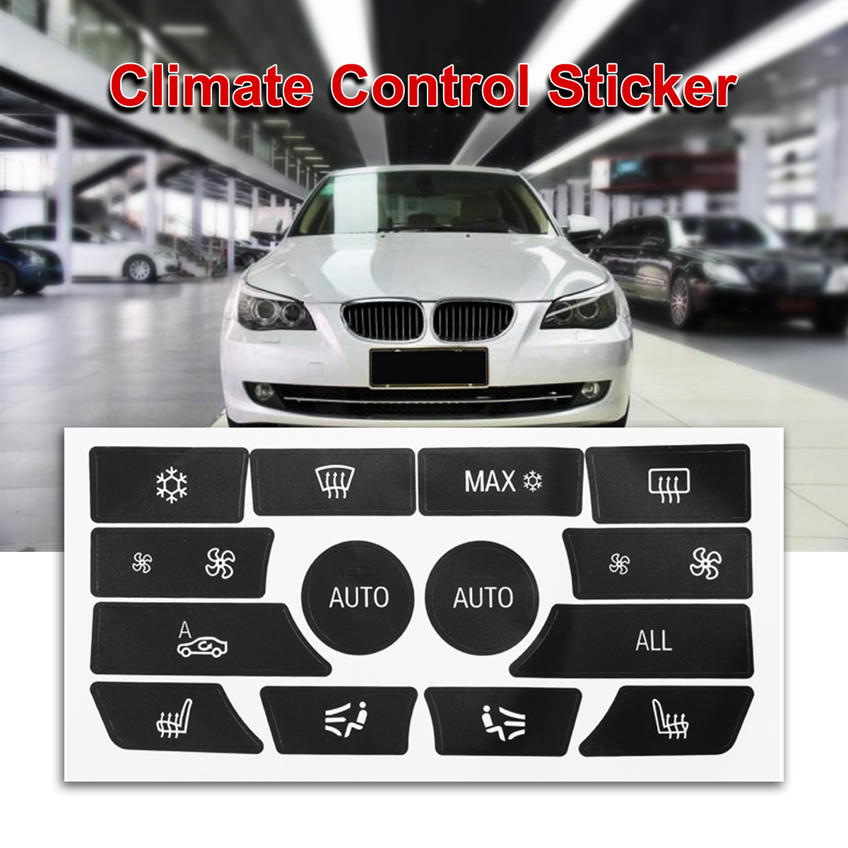 For BMW 5 Series AC Dash Climate Control Panel Button Repair Sticker Decal Trim