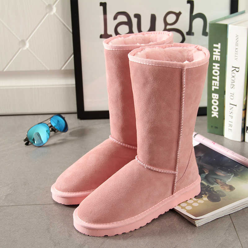 Begocool women snow boots for cheap australia warm winter boots shoes 100% genuine cow suede pink sale