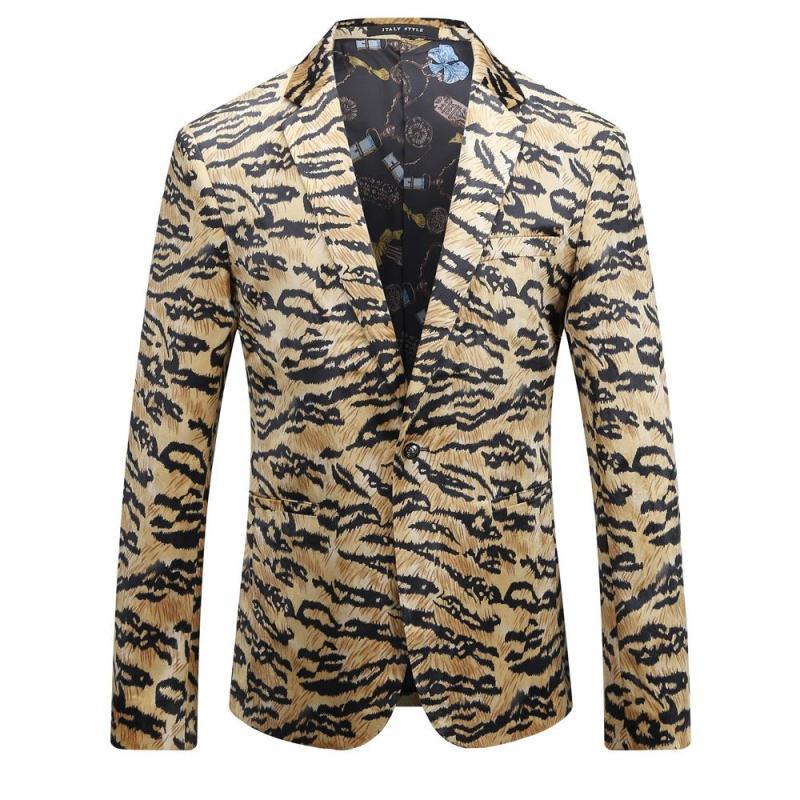 Осень 2017 г. Leopard Новое поступление Slim Fit Цветочные мужской пиджак Мода печатных Повседневное блейзер для Для мужчин Азиатский Размеры 3XL Для ...
