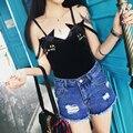 Mulheres da moda coreano de alta elétrica suspensórios camisetas magro sexy sem mangas tops casual kawaii bordados cat feminino t preto