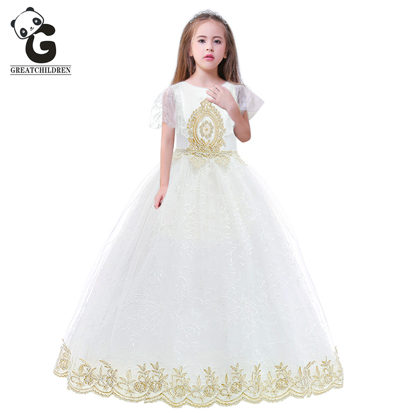 2019 New Flower Girl Dresses White Party Pageant Communion Dress Little Kids Princess Dress for Girls Wedding Evening Dresses