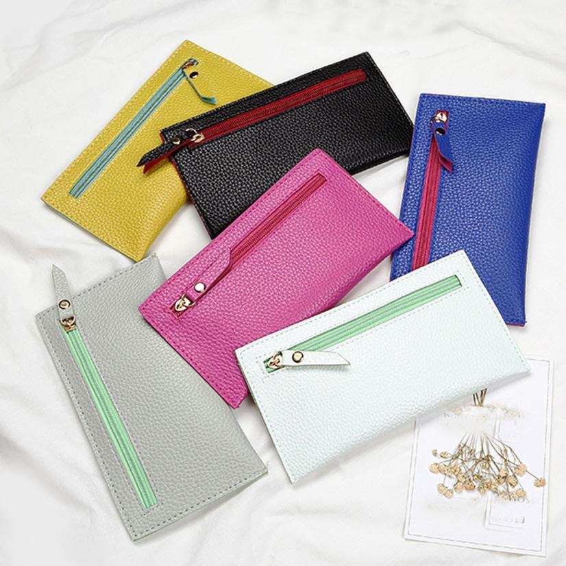 Fashion Women Leather Wallet Clutch Card Holder Purse Zero Wallet Phone Key Bag small wallet Men Leather Thin Wallet Male Slim