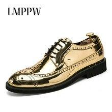 2019 Men Fashion Vintage Brogue Shoes Patent Leather Lace Up Oxford Breathable Business Dress Bullock Gold Black