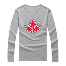2016 T-Shirt canada logo for the 2016 World Cup of Hockeyes Long Sleeve Tee 100% Cotton Tshirt  T SHIRT Mens Fashion