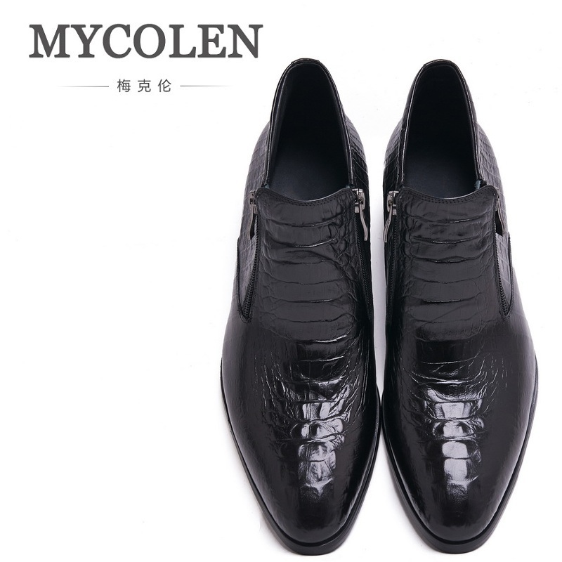 MYCOLEN Boots Pointed Toe Slip-On Ankle Boots Hombre Genuine Leather Man Motorcycle Boots Crocodile Pattern High Top Men Shoes red men wedding dress shoes pointed toe ankle boots genuine leather botas hombre cowboy military boots metal decor men flats