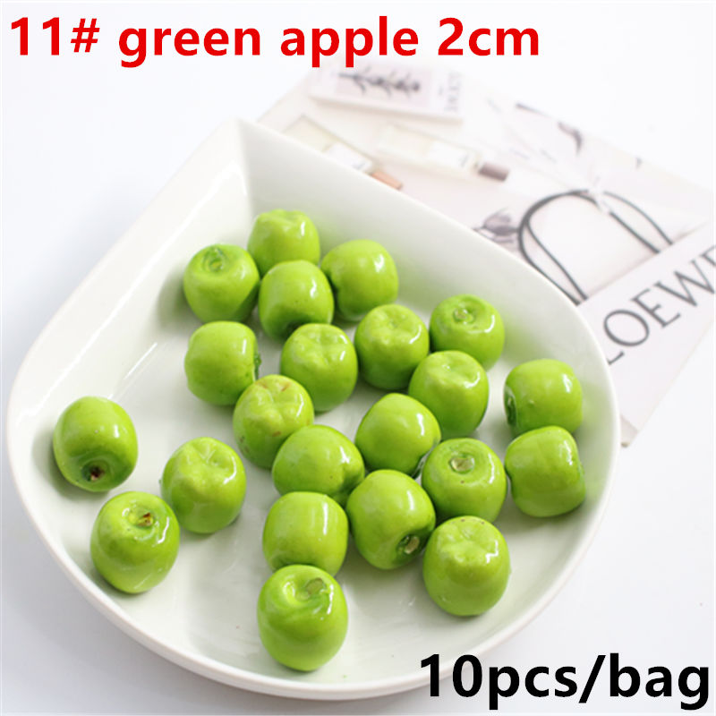 Hot Sale10Pcs Mini Simulation Super Small Apples Foam Plastic Fake Artificial Fruit Model House Party Kitchen Wedding Decoration