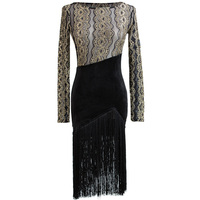 New Latin Dance Dress Sexy Long Sleeve Lace Black Fringe Dress Competition Latin Dance Wear Women Stage Perform Dresses DN2469