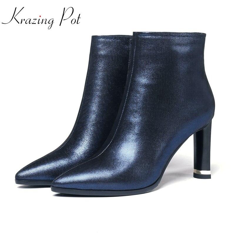 Krazing Topf echte leder marke stiefel Britischen grundlegenden stil stiefel superstar zipper schönheit farbe hohe qualität stiefeletten L6f4-in Knöchel-Boots aus Schuhe bei  Gruppe 1